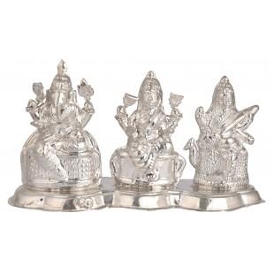 Silver Laxmi-Ganesh-Saraswati Statue