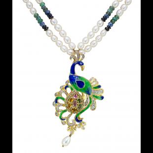 Pearlish Peacock Pendant Set