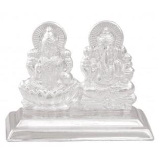 Silver Laxmi-Ganesh Traditional Idol