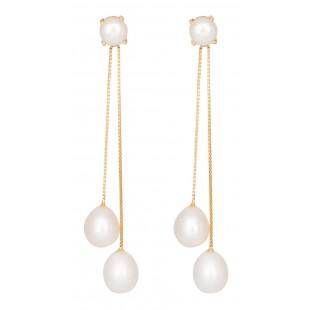 Trio Gold Pearl Earrings