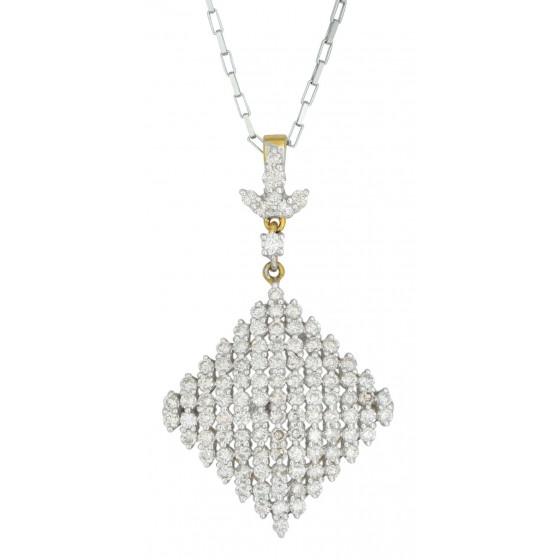 Rhombus Studded Diamond Pendant Set