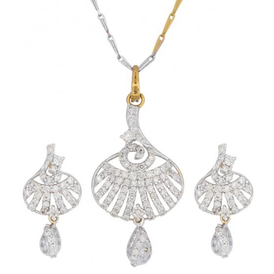 Flamboyant Diamond Pendant Set