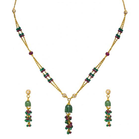 Color Shine Bead Gold Pendant Set