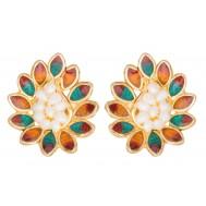 Flowery Gold Pearl Earrings