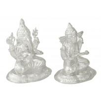 Silver Ganesh-Laxmi Idol