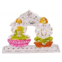 Silver Laxmi-Ganesh Fancy Statue