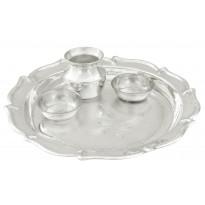 Silver Flowery Pooja Plate