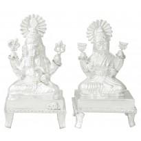 Silver Laxmi-Ganesh Statue